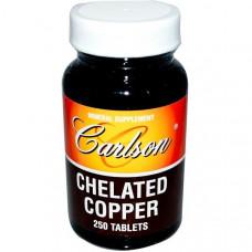 Хелатированная медь Carlson Labs, 250 таблеток