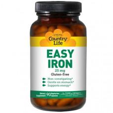 Минерал железо Country Life Easy Iron 25 мг, 90 капсул