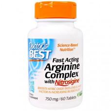 Doctors Best, Быстродействующий комплекс аргинина с нитросигином 750 мг, 60 таблеток