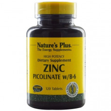 Пиколинат цинка Natures Plus с витамином B6, 120 таблеток