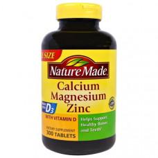 Кальций-магний-цинк Nature Made с витамином D3, 300 таблеток