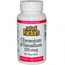 Хром и ванадий Natural Factors 125 мкг, 90 капсул