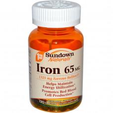 Биологически активная пищевая добавка железо Sundown Naturals 65 мг, 120 таблеток