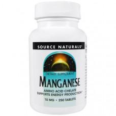 Аминокислотный хелат марганца Source Naturals 10 мг, 250 таблеток