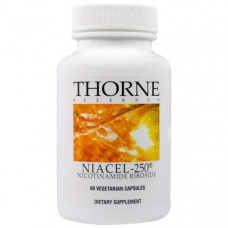 Thorne Research, Niacel-250, никотинамидрибозид, 60 вегетарианских капсул