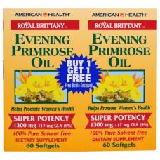 Масло примулы вечерней, 1300 мг, 2 бутылочки, 60 капсул в каждой, American Health, Royal Brittany