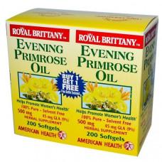 American Health, Масло вечерней примулы Royal Brittany, 500 мг, 2 бутылочки по 200 капсул