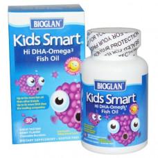 Bioglan, Умные детки, Рыбий жир с высоким содержанием Омега-3, с ягодным вкусом, 30 жевательных дражже.