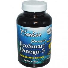 Carlson Labs, Омега-3 EcoSmart, вкус лимона, 500 мг, 90 мягких желатиновых капсул