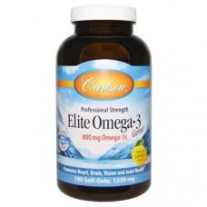 Carlson Labs, Кристаллы элитной Омега-3, природных лимонный аромат, 1250 мг, 180 мягких желатиновых капсул