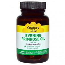 Масло Примулы Вечерней 500 мг, Evening Primrose Country Life500 мг, 60 жел. капсул