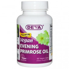 Deva, Органическое веганское масло примулы вечерней, 90 веганских капсул