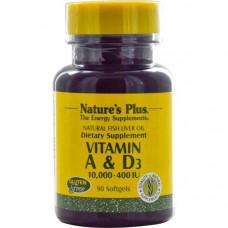 Витамин А и D3 Vitamin A & D Natures Plus 10,000-400 IU 90 капсул