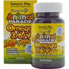 Natures Plus, Источник жизни, Парад животных, Омега 3/6/9 для детей, Натуральный лимонный вкус, 90 желатиновых капсул
