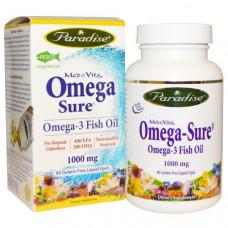 Paradise Herbs, Омега-3, 1000 мг, 60 жидких капсул на растительной основе