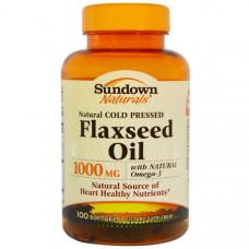 Льняное масло 1000 мг, 100 капсул, Sundown Naturals