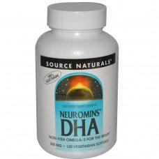 Source Naturals, Докозагексаеновая кислота (DHA) Neuromins, 200 мг, 120 растительных капсул