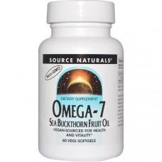 Source Naturals, Омега-7, масло ягод облепихи, 60 капсул растительного происхождения