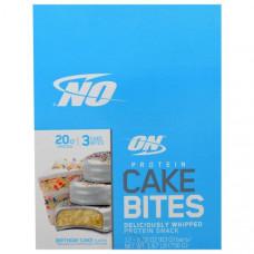 Optimum Nutrition, Печенье с Протеином, Вкус Торта ко Дню Рождения, 12 батончиков, 2,22 унции (63 г) каждый