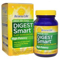 Renew Life, Умное пищеварение 50+, 45 вегетарианских капсул