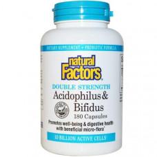 Natural Factors, Ацидофильные и бифидобактерии, 10 миллиардов активных микроорганизмов, 180 капсул (Ice)