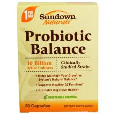 Sundown Naturals, Пробиотический баланс, 30 капсул