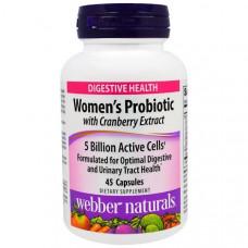 Webber Naturals, Пробиотик для женщин с экстрактом клюквы, 5 миллиардов активных бактерий, 45 капсул