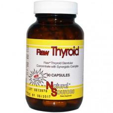Гормоны для щитовидной железы, Raw Thyroid, Natural Sources,  90 капсул