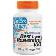 Doctors Best, Лучший транс-ресвератрол 100, 100 мг, 60 растительных капсул