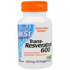 Doctors Best, Транс-ресвератрол 600, 600 мг, 60 вегетарианских капсул