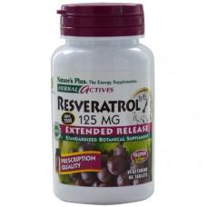 Natures Plus, Herbal Actives, Ресвератрол, 125 мг, 60 растительных таблеток