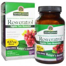 Natures Answer, Resveratrol, 637 мг, 60 вегетарианских капсул