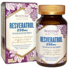 ReserveAge Nutrition, Ресвератрол, клеточная антивозрастная формула, 250 мг, 60 вегетарианских капсул