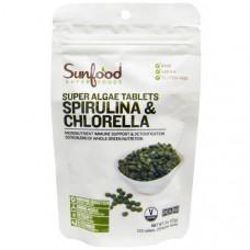 Sunfood, Спирулина и хлорелла, Таблетки с суперводорослями, 250 мг, 225 таблеток