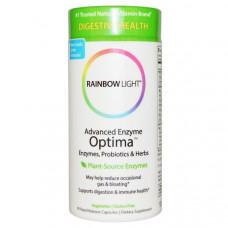 Rainbow Light, Улучшенные ферменты Optima, ферменты, пробиотики и травы, 90 капсул быстрого усвоения