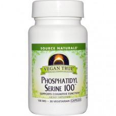 Source Naturals, Истинно Веган, Серинфосфатид 100, 30 веганских капсул