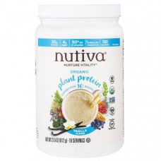 Nutiva, Органический протеин растительного происхождения, ванильный вкус, 21,6 унции (612 г)