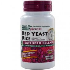Natures Plus, Herbal Actives, Красный ферментированный рис, 600 мг, 30 таблеток