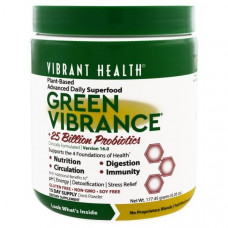 Vibrant Health, Green Vibrance + 25 миллиардов пробиотиков, версия 14.1, 6.4 унций (181.5 г)