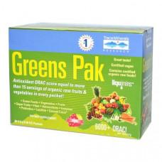 Trace Minerals Research, Greens Pak, ягодный, 30 пакетиков по 0.26 унций (7.5 г)