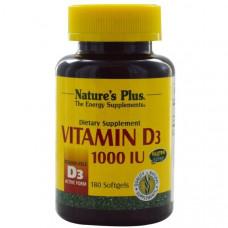 Natures Plus, Витамин D3, 1000 МЕ, 180 гелевых капсул