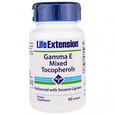 Life Extension, Гамма E Смешанные Токоферолы, 60 Мягких Желатиновых Капсул
