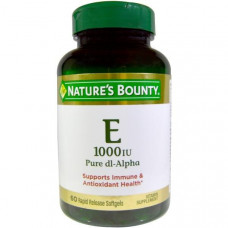 Natures Bounty, Витамин Е, чистая Dl-альфа, 1000 МЕ, 60 мягких желатиновых капсул с быстрым высвобождением