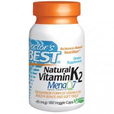 Doctors Best, Натуральный витамин K2, Mena Q7, 45 мкг, 180 капсул на растительной основе