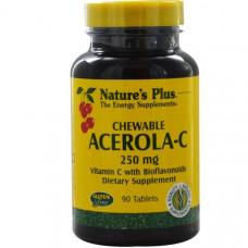 Natures Plus, Жевательные Таблетки Ацерола-С, 250 мг, 90 таблеток
