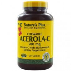 Natures Plus, Жевательная барбадосская вишня-С, витамин С с биофлавоноидами, 90 таблеток