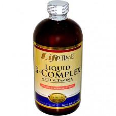 Life Time, Жидкий B-комплекс с витамином С, натуральный клубничный, 16 жидких унций (473 мл)