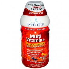 Wellesse Premium Liquid Supplements, Мультивитамины+, натуральный аромат цитрусовых, 16 жидких унций (480 мл)