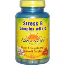 Natures Life, B-комплекс от стресса с витамином C, 100 вегетарианских капсул