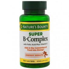 Natures Bounty, Супер комплекс витаминов В с фолиевой кислотой и витамином С, 150 таблеток